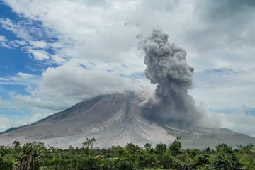 Eruption of volcano. Sinabung, Sumatra, Indonesia. 28-09-2016