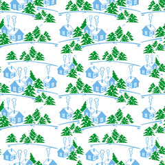 Winter seamless pattern with houses.