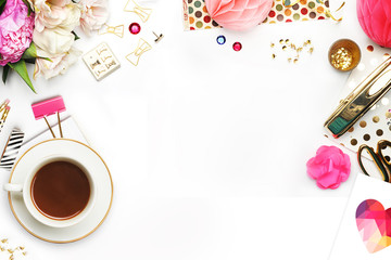 Woman desktop elegant. Coffee cup and items on the table. Mock-up for artwork .View from above. Flat lay.