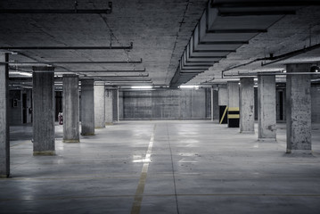 Dark underground car parking garage