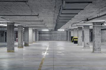 Raw underground car parking garage