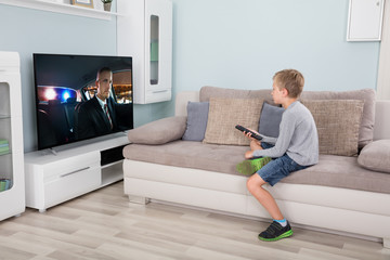Boy with remote control in front of television
