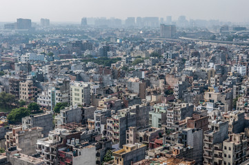 Aerial panorama of typical asian city