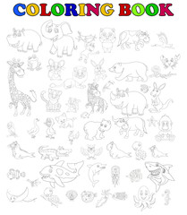 coloring book of big animal cartoon set