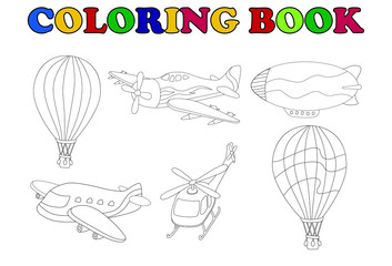 coloring book of air transportation set cartoon