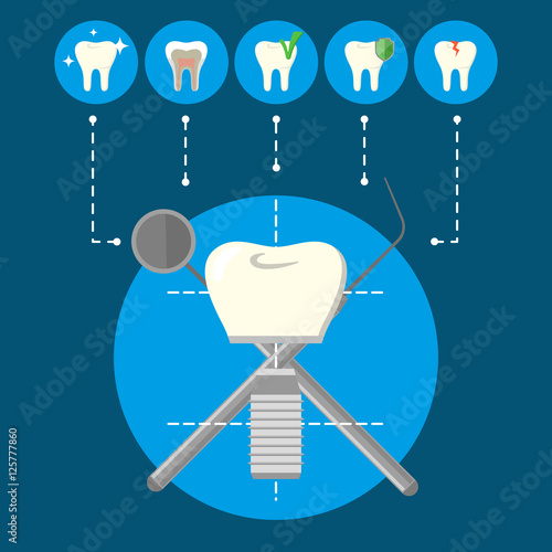 """""""Round teeth icons and tooth implant with crosswise ... Dental Implant Background"""