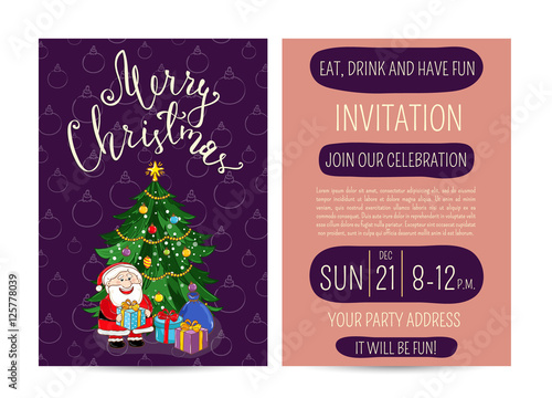 Invitation on christmas party with date and time cute santa invitation on christmas party with date and time cute santa wrapped gifts decorated m4hsunfo