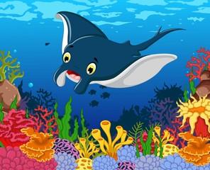 funny stingray cartoon with beauty sea life background