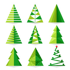 Green Christmas tree set vector illustration in triangle style. Merry Christmas and Happy New Year collection isolated on white background.