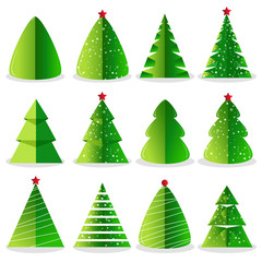 Green Christmas tree set vector illustration in flat design. Merry Christmas and Happy New Year collection isolated on white background.