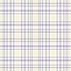 Seamless tartan plaid pattern in violet, gray, pale yellow & white.