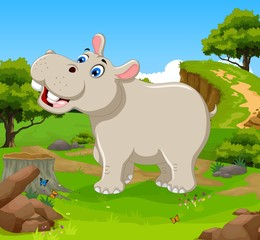 funny hippo cartoon in the jungle with landscape background