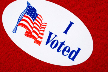 """""""I Voted"""" Sticker"""" On Red Background Representing Republicans"""
