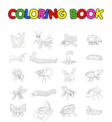 coloring book with collection of insects