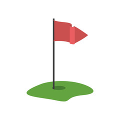golf hole with red flag icon over white background. vector illustration