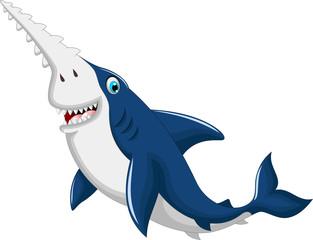 funny saw shark cartoon posing