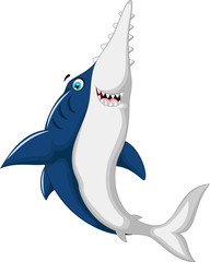 funny saw shark cartoon jumping