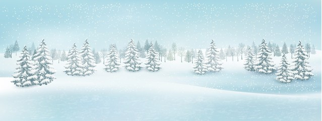 Foto auf Acrylglas Licht blau Christmas winter landscape background. Vector.