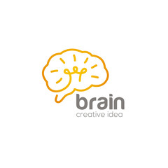 Brain creative logo design vector