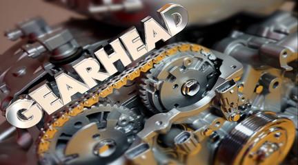 Gearhead Word Engine Tech Fan Customizer Performance 3d Illustra