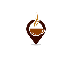 Coffee Pin Point Logo Design Template
