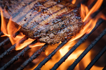 Aluminium Prints Steakhouse Flank Steak On Grill