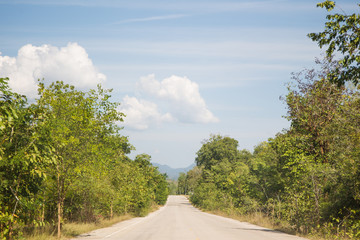 The landscape of street in country side in Thailand.