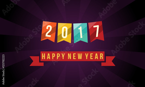 happy new year 2017 ribbon banner on dark wallpaper background