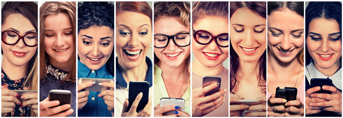 Multiethnic group of happy women using their phones sending sms