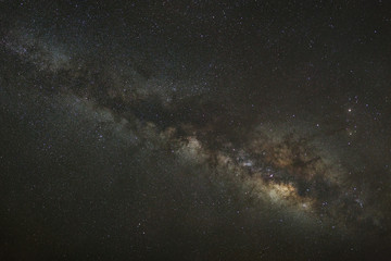 Milky Way galaxy, Long exposure photograph, with grain.High resolution