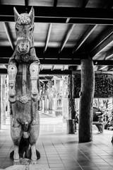 Antique Wood Horse Carve,Black&white