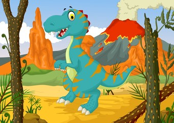funny dinosaur cartoon in the jungle
