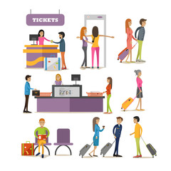 Vector set of people characters in airport terminal. Airline passengers passing security control, buying tickets and waiting for boarding