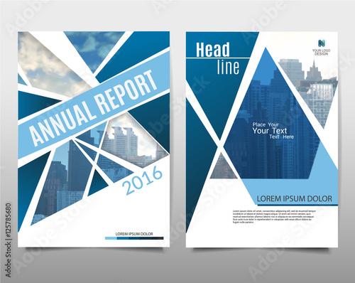 blue geometric triangle shapes on polygonal background brochure