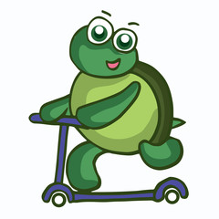 Vector Illustration of Funny Turtle with scooter