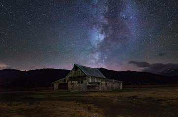 Milky way in the dark night