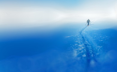 Beautiful winter landscape and snowy with skier. Blur background.