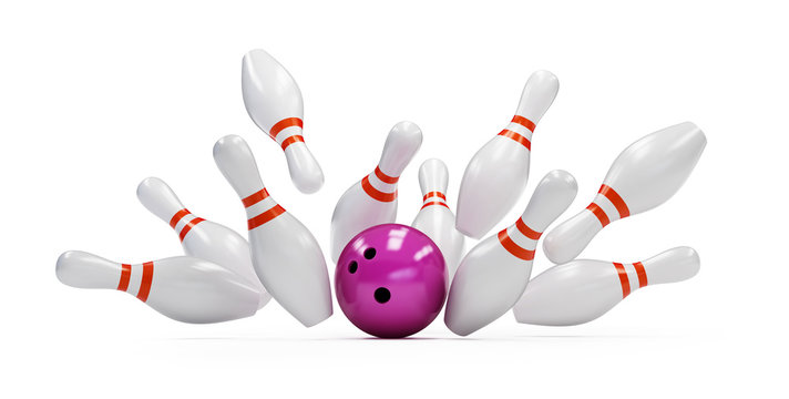 bowling strike on white background. 3d Illustrations
