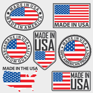 Made in USA label set with flag, vector illustration