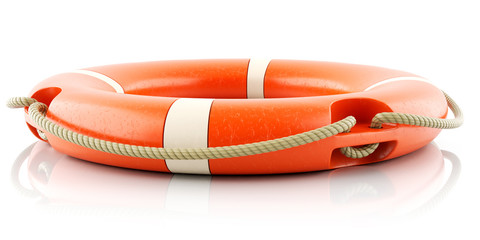 Red lifebuoy ring isolated