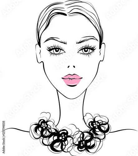 """""""Vector Beautiful Girl Portrait In Sketch Style. Young"""
