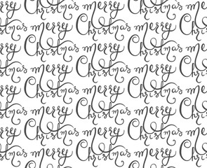Vector seamless pattern with Merry Christmas lettering.