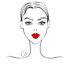Vector beautiful girl portrait in sketch style. Young fashion women. Cute lady. Young model faces in vogue style. Stylish girl illustration. Trendy graphic, Contour drawing. Beauty and elegant face.