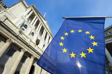 European Union flag flying in front of the Bank of England as a symbol of the financial repercussions of the Brexit EU referendum