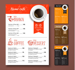 Templates of different colors coffee menu with hand drawings