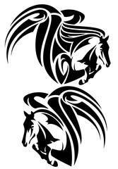 pegasus design set - black and white winged horse vector
