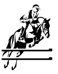 show jumping equestrian sport black and white vector design with horse and jockey