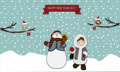 Happy new year 2017 con muñeco de nieve.