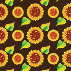 Sunflowers on a dark brown background. Seamless pattern. Design for textiles, tapestries, glassware, ceramics, packaging materials.