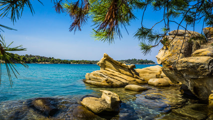 Beautiful Small Beach With Turquoise Water And Rocks Around It, Sithonia, Halkidiki, Greece